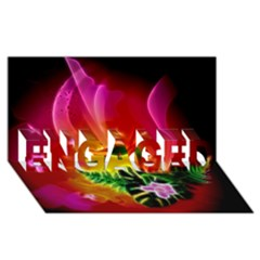 Awesome F?owers With Glowing Lines ENGAGED 3D Greeting Card (8x4)