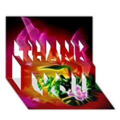 Awesome F?owers With Glowing Lines Thank You 3d Greeting Card (7x5)