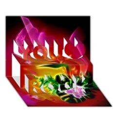 Awesome F?owers With Glowing Lines You Rock 3D Greeting Card (7x5)