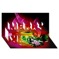 Awesome F?owers With Glowing Lines Merry Xmas 3D Greeting Card (8x4)