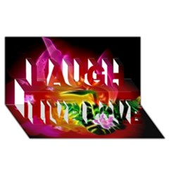 Awesome F?owers With Glowing Lines Laugh Live Love 3d Greeting Card (8x4)