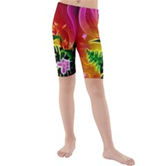 Awesome F?owers With Glowing Lines Kid s swimwear
