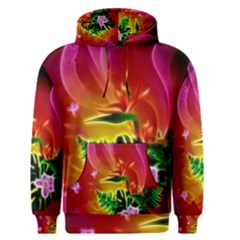Awesome F?owers With Glowing Lines Men s Pullover Hoodies