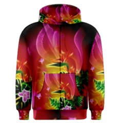 Awesome F?owers With Glowing Lines Men s Zipper Hoodies