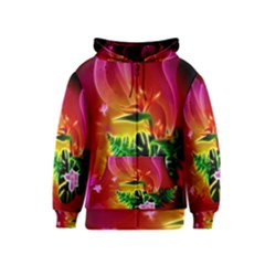 Awesome F?owers With Glowing Lines Kids Zipper Hoodies
