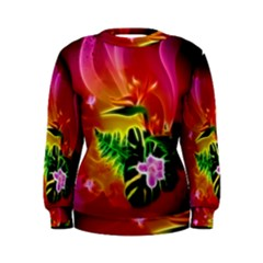 Awesome F?owers With Glowing Lines Women s Sweatshirts