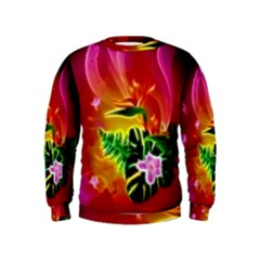 Awesome F?owers With Glowing Lines Boys  Sweatshirts