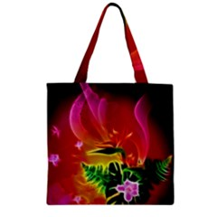 Awesome F?owers With Glowing Lines Zipper Grocery Tote Bags