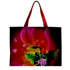 Awesome F?owers With Glowing Lines Zipper Tiny Tote Bags