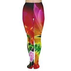 Awesome F?owers With Glowing Lines Women s Tights
