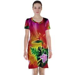 Awesome F?owers With Glowing Lines Short Sleeve Nightdresses