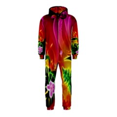 Awesome F?owers With Glowing Lines Hooded Jumpsuit (Kids)