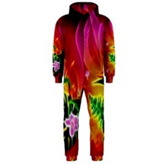 Awesome F?owers With Glowing Lines Hooded Jumpsuit (Men)