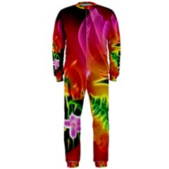 Awesome F?owers With Glowing Lines OnePiece Jumpsuit (Men)