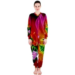 Awesome F?owers With Glowing Lines OnePiece Jumpsuit (Ladies)