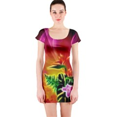 Awesome F?owers With Glowing Lines Short Sleeve Bodycon Dresses