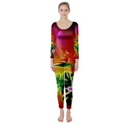 Awesome F?owers With Glowing Lines Long Sleeve Catsuit