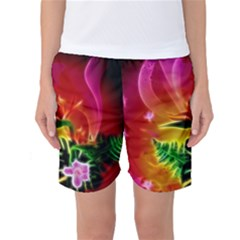 Awesome F?owers With Glowing Lines Women s Basketball Shorts