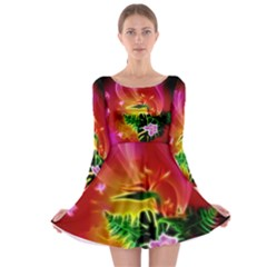 Awesome F?owers With Glowing Lines Long Sleeve Skater Dress