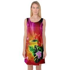 Awesome F?owers With Glowing Lines Sleeveless Satin Nightdresses