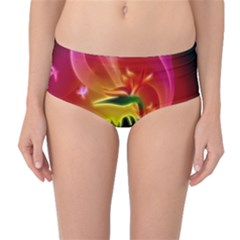 Awesome F?owers With Glowing Lines Mid-Waist Bikini Bottoms