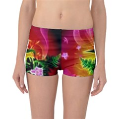 Awesome F?owers With Glowing Lines Reversible Boyleg Bikini Bottoms