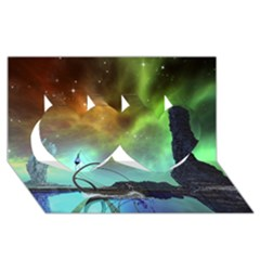 Fantasy Landscape With Lamp Boat And Awesome Sky Twin Hearts 3D Greeting Card (8x4)
