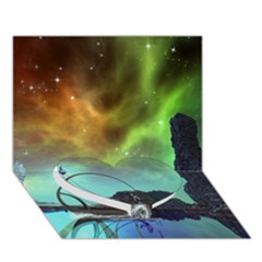 Fantasy Landscape With Lamp Boat And Awesome Sky Heart Bottom 3d Greeting Card (7x5)