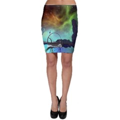 Fantasy Landscape With Lamp Boat And Awesome Sky Bodycon Skirts