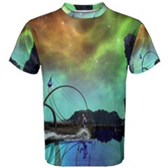 Fantasy Landscape With Lamp Boat And Awesome Sky Men s Cotton Tees