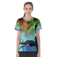 Fantasy Landscape With Lamp Boat And Awesome Sky Women s Cotton Tees
