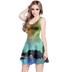 Fantasy Landscape With Lamp Boat And Awesome Sky Reversible Sleeveless Dresses