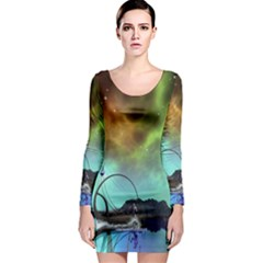 Fantasy Landscape With Lamp Boat And Awesome Sky Long Sleeve Bodycon Dresses