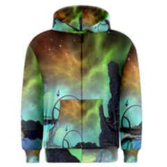Fantasy Landscape With Lamp Boat And Awesome Sky Men s Zipper Hoodies