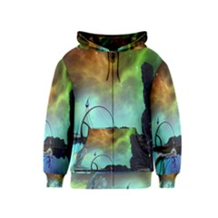 Fantasy Landscape With Lamp Boat And Awesome Sky Kids Zipper Hoodies