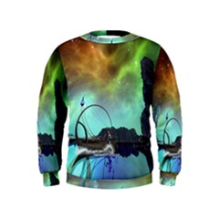 Fantasy Landscape With Lamp Boat And Awesome Sky Boys  Sweatshirts