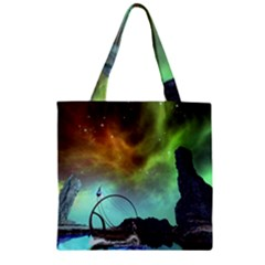 Fantasy Landscape With Lamp Boat And Awesome Sky Zipper Grocery Tote Bags