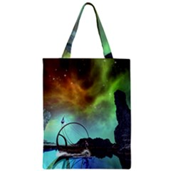 Fantasy Landscape With Lamp Boat And Awesome Sky Zipper Classic Tote Bags