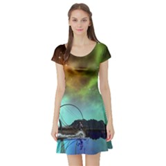 Fantasy Landscape With Lamp Boat And Awesome Sky Short Sleeve Skater Dresses