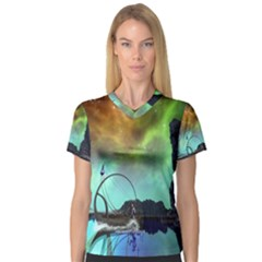 Fantasy Landscape With Lamp Boat And Awesome Sky Women s V-Neck Sport Mesh Tee