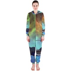 Fantasy Landscape With Lamp Boat And Awesome Sky Hooded Jumpsuit (ladies)