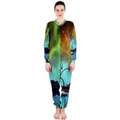 Fantasy Landscape With Lamp Boat And Awesome Sky OnePiece Jumpsuit (Ladies)