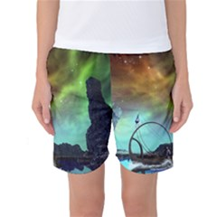 Fantasy Landscape With Lamp Boat And Awesome Sky Women s Basketball Shorts