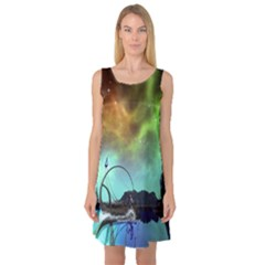 Fantasy Landscape With Lamp Boat And Awesome Sky Sleeveless Satin Nightdresses