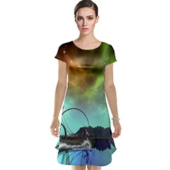Fantasy Landscape With Lamp Boat And Awesome Sky Cap Sleeve Nightdresses