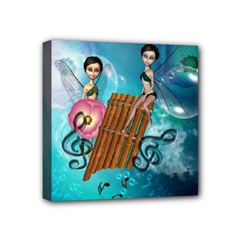 Music, Pan Flute With Fairy Mini Canvas 4  x 4