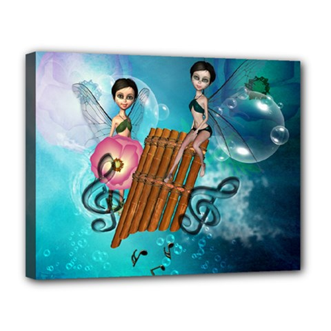 Music, Pan Flute With Fairy Canvas 14  x 11