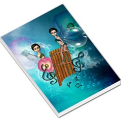 Music, Pan Flute With Fairy Large Memo Pads