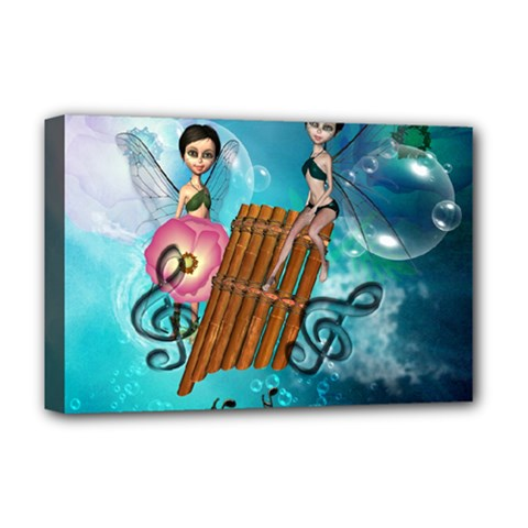 Music, Pan Flute With Fairy Deluxe Canvas 18  x 12