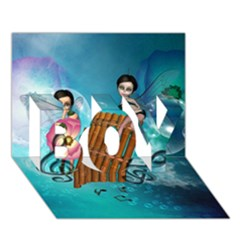 Music, Pan Flute With Fairy BOY 3D Greeting Card (7x5)